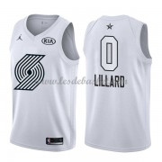 Maillot NBA Pas Cher Portland Trail Blazers Damian Lillard 0# White 2018 All Star Game Swingman..